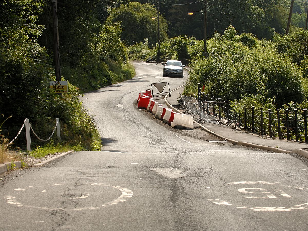 The rollercoaster road at The Lloyds, in 2006, immediately before the work began.