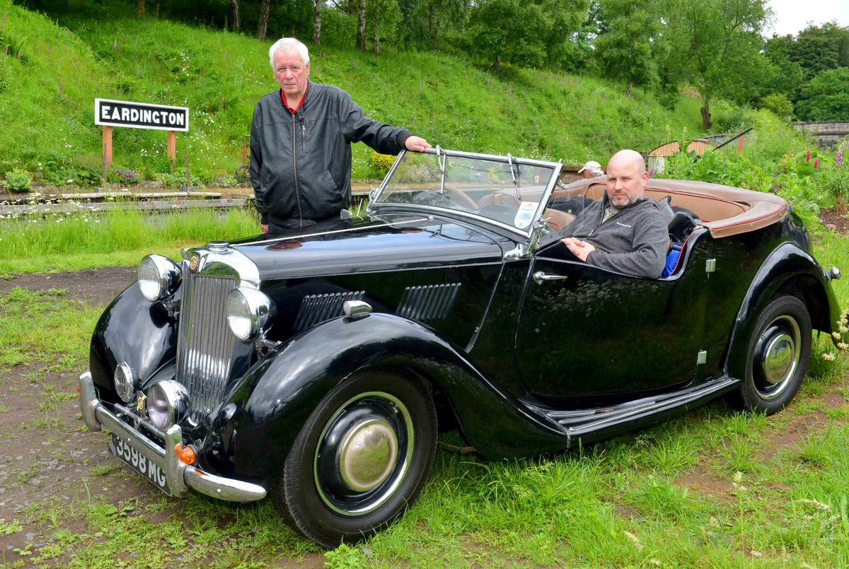 Terry Staines and Ian Staines at the open day with their 1949 MG Tourer