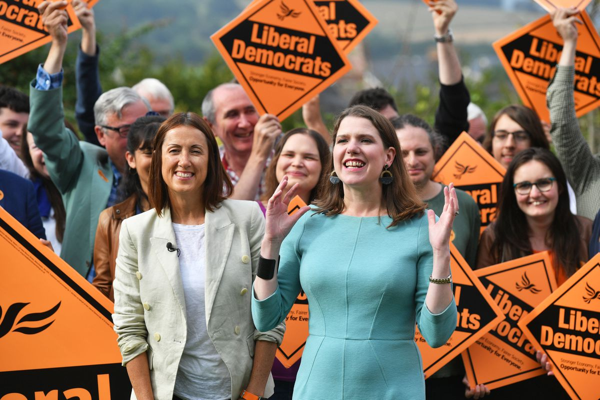 New Liberal Democrat leader Jo Swinson, pictured front right, celebrates the party's recent by-election victory in Brecon