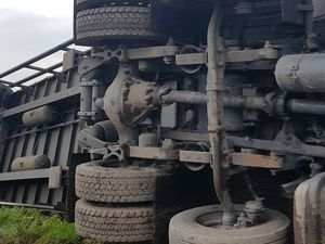 The overturned lorry. Photo: Richard Dunne