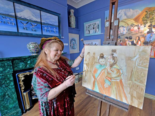 LAST COPYRIGHT TIM STURGESS SHROPSHIRE STAR...... 21/04/2021.  The Angel Gallery, 17 High Street, Broseley, Shropshire gallery preparing to reopen after lockdown. Pictured, Ann Fraser....
