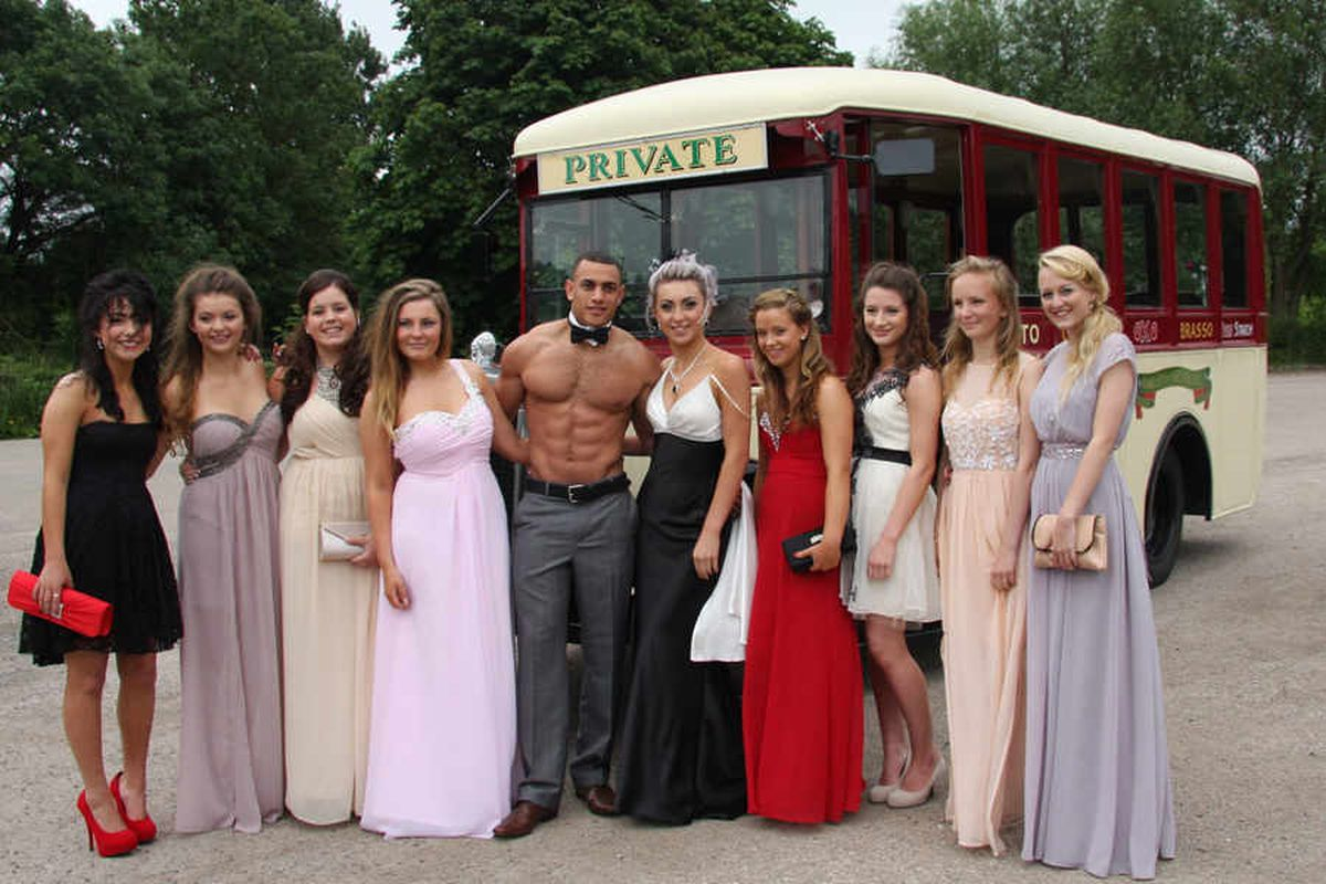 Meole Brace Science College pupils modelling their stylish dresses at Hawkstone Park
