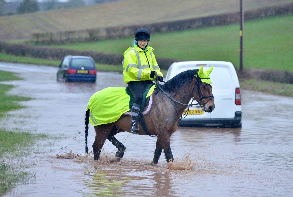 Aero the horse navigates flooding on Bridgnorth Road, Worfield, with Cerys Holding riding