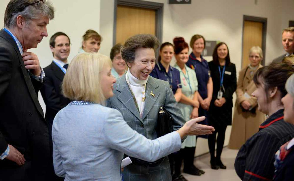 The Princess Royal is shown around the Women and Children's Centre at the Princess Royal Hospital, Telford