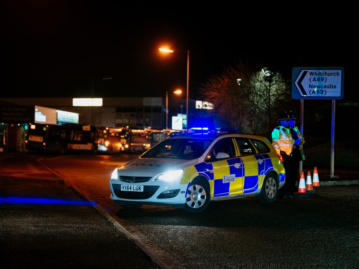 Police have blocked off roads including Arlington Way after armed police arrive at the Tesco Extra store at Battlefields. Image: Jamie Ricketts/Shropshire Star