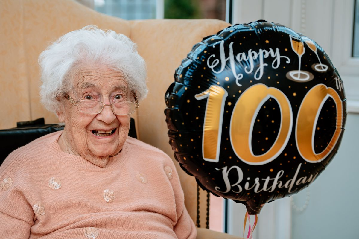 Marion Parkes, who celebrated her 100th birthday with family and friends