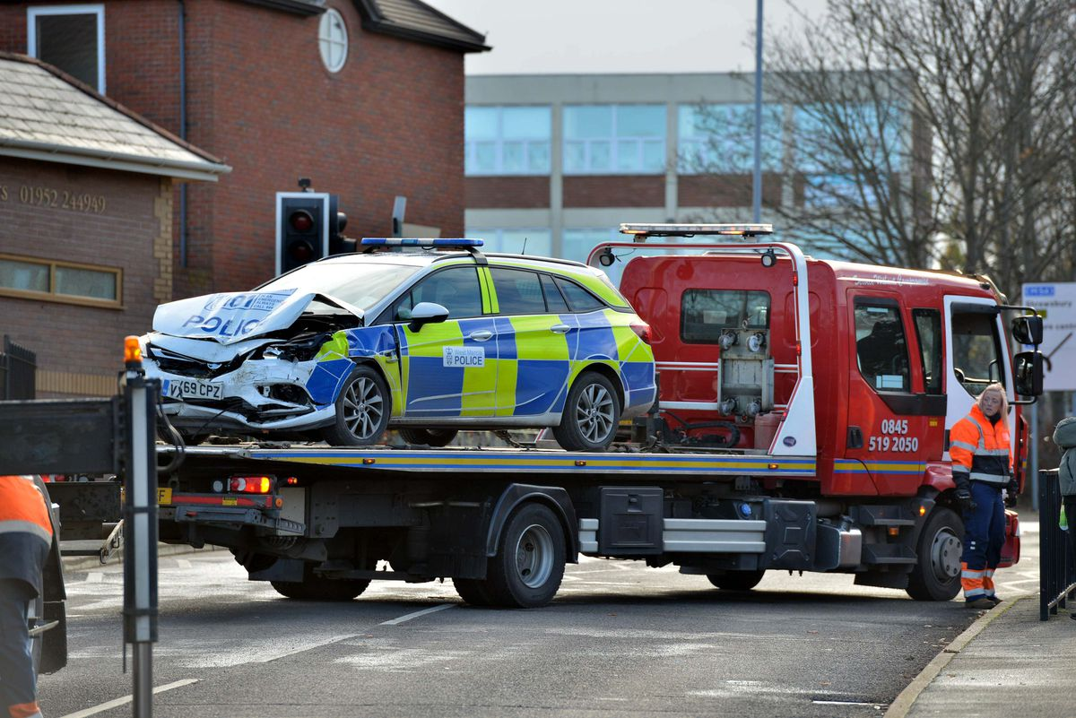 A police car was also badly damaged in the crash