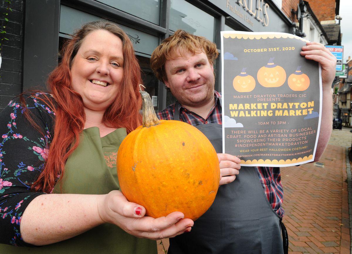 Promoting this month's walking market are Vivienne Derricutt of Flores Diem and Dan Thomas of the Refill Emporium