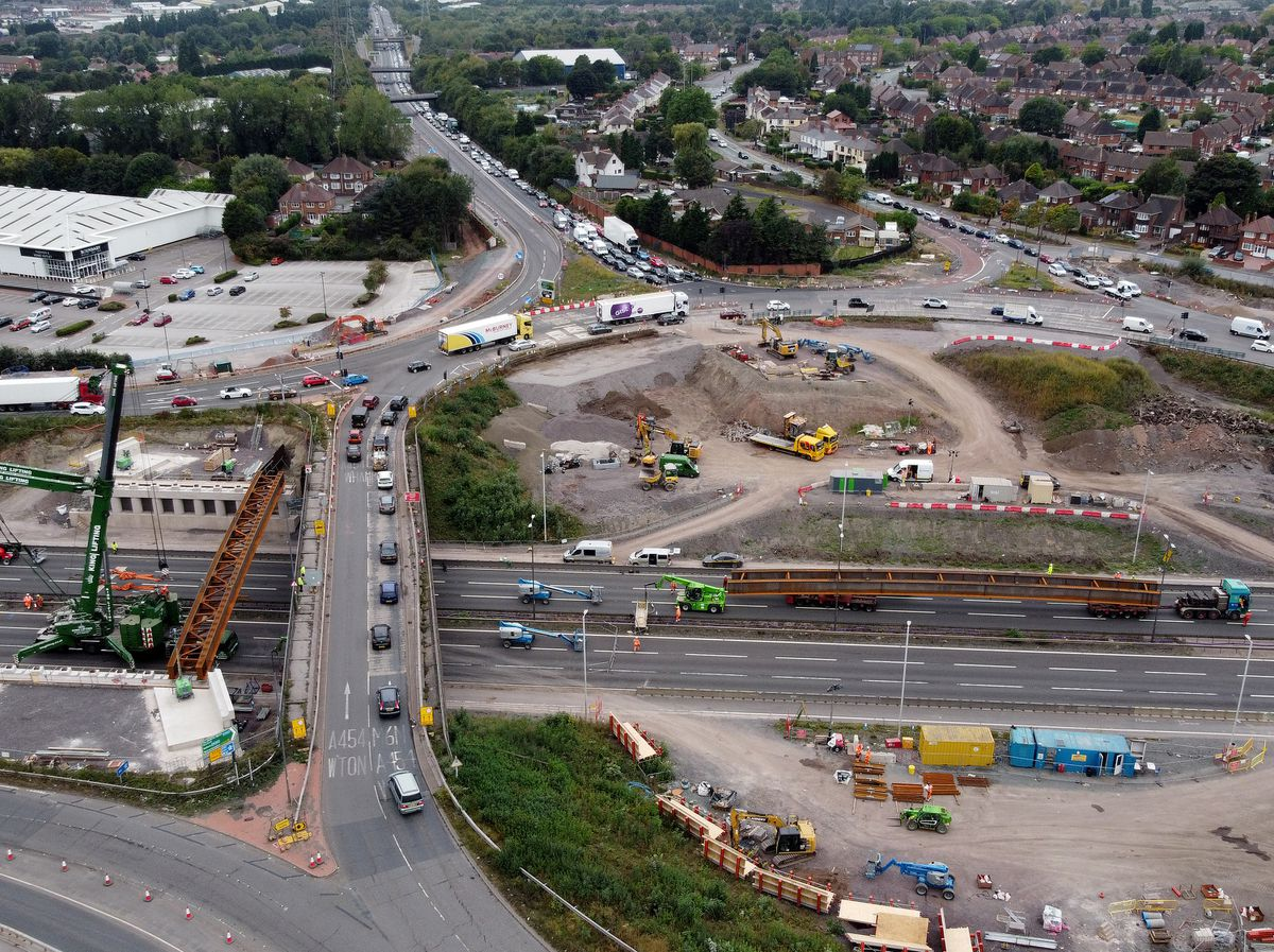 Traffic is being taken up and over Junction 10 of the M6 while a new bridge is installed