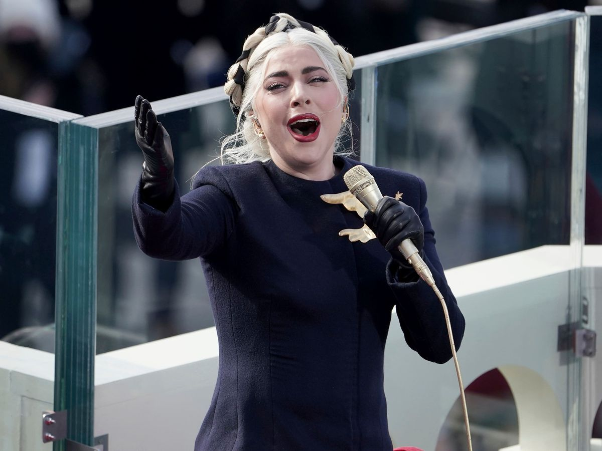 Lady Gaga sings the national anthem before Joe Biden's inauguration at the US Capitol in Washington