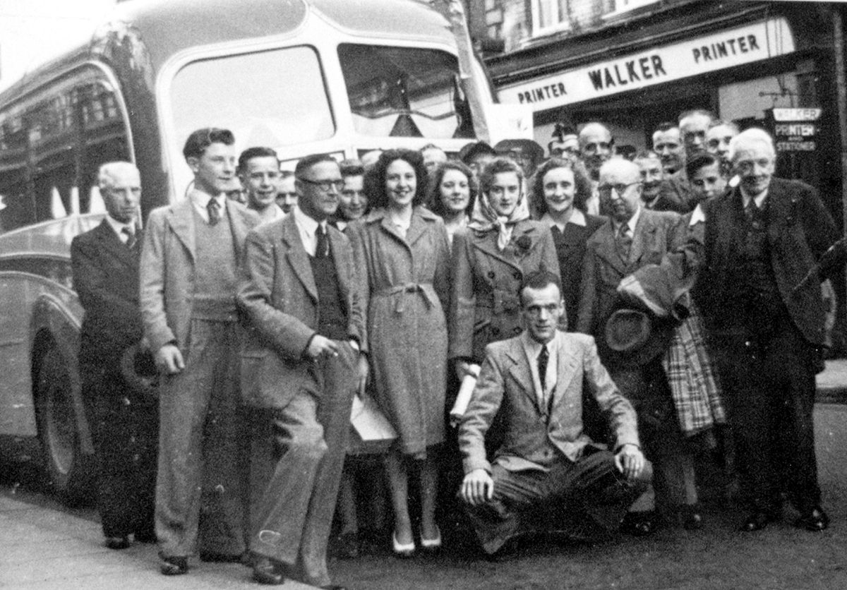 We're off to Blackpool. Staff of Walker printers in Shrewsbury High Street just before they set off on their trip to the seaside in a photo thought to date from 1948. The picture came from Shrewsbury historian David Trumper, but was originally from Mrs Jessie Reich who is one of the two girls at the front and is on the left with her sister Ethelwyn next to her. Immediately below the 'W' of Walker is George Pugh, who was manager of the printing works.