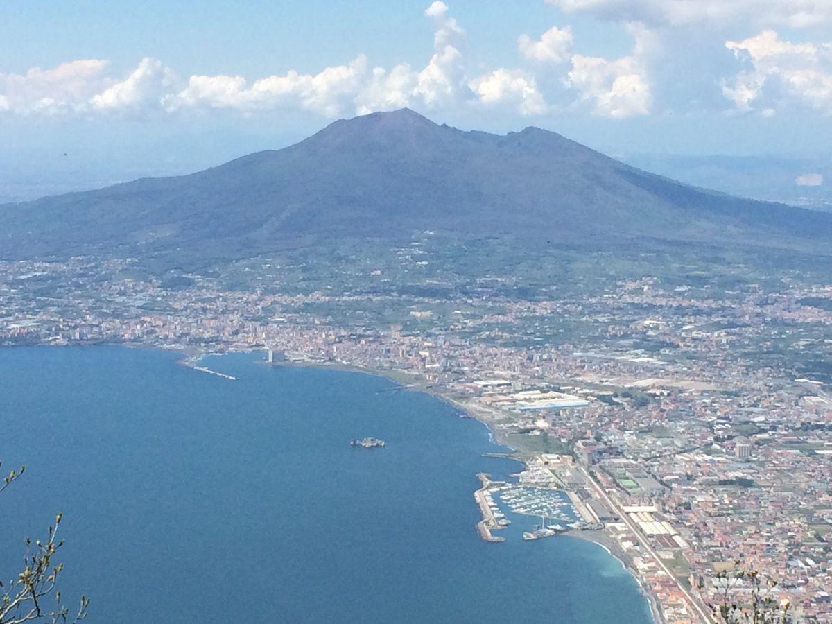 His old Italian haunts, with Mount Vesuvius looming menacingly.