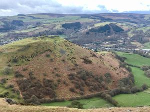 The Dee Valley with Dinas Bran and Llangollen town