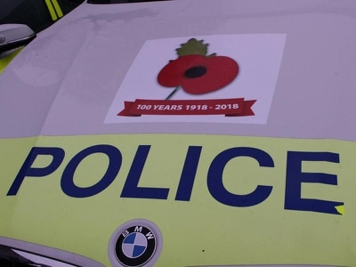 Poppy stickers on police cars to mark centenary of First World War's end