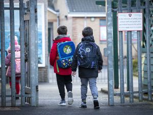 Children arrive for their first day back at Inverkip Primary School in Inverclyde