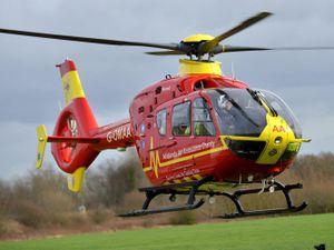 An air ambulance was sent to the crash