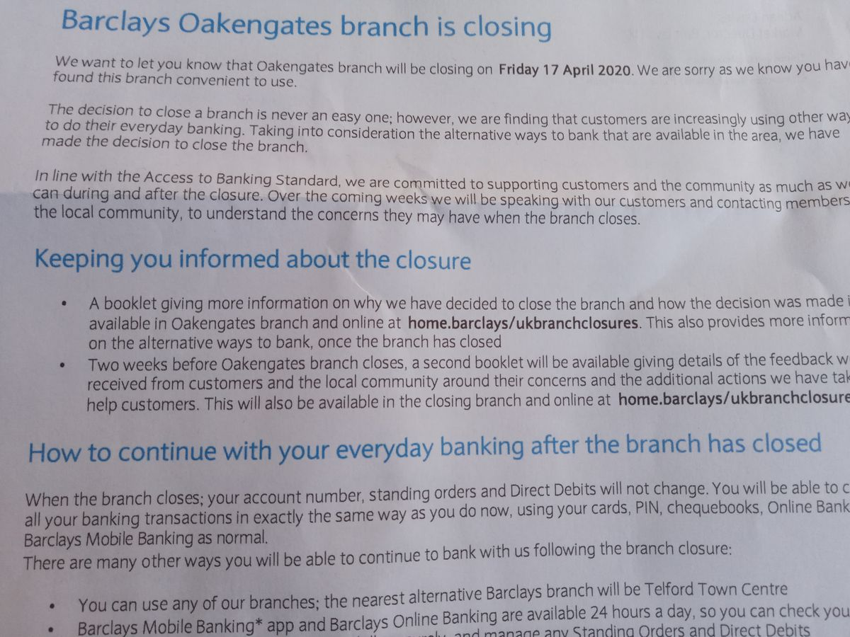 The letter sent to Barclays customers