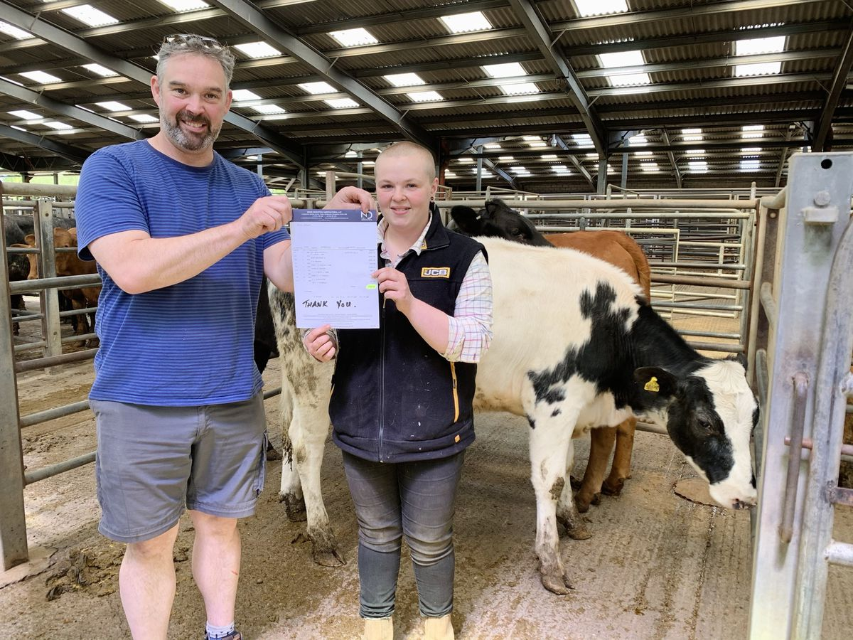 Robert Pugh with Kelly and Poppy the cow