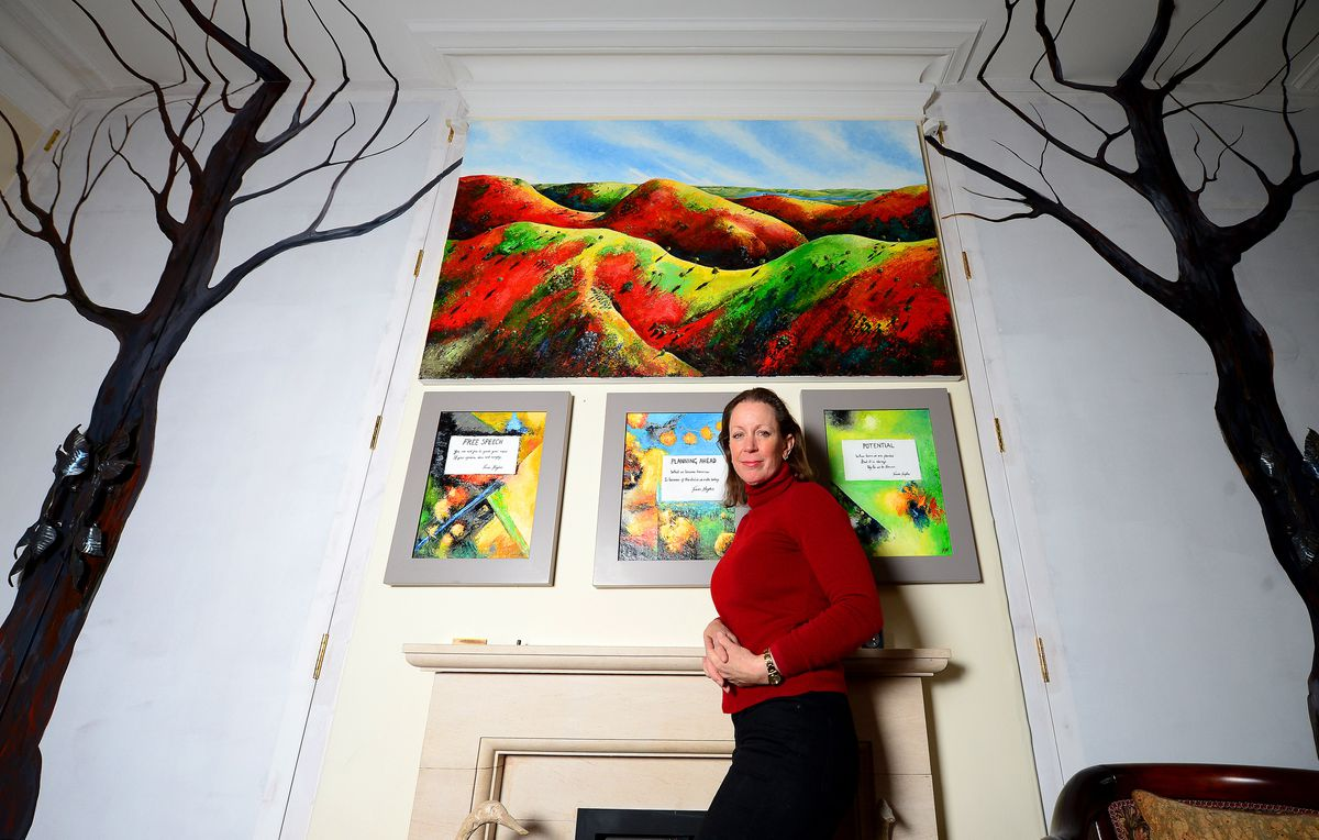 Frieda Hughes with some of her artwork