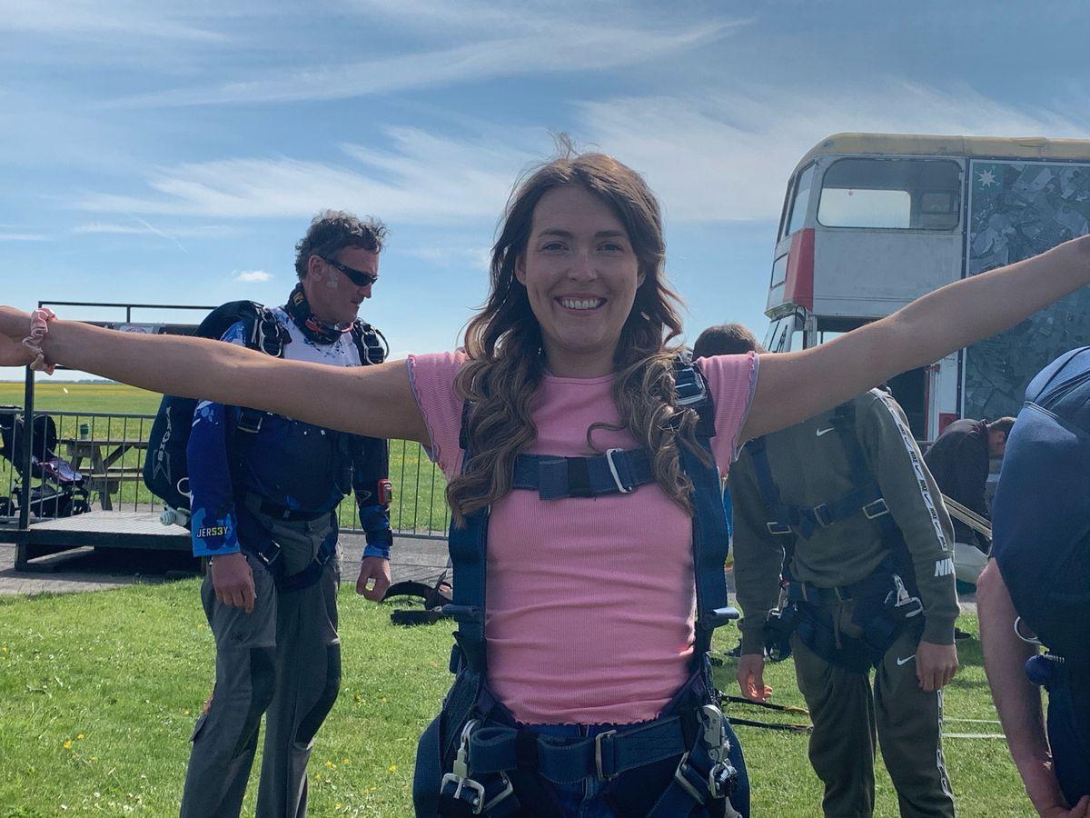 Lauren is all smiles after her skydive
