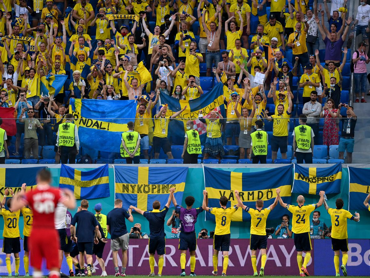 Sweden celebrate with their fans in St Petersburg after winning their final group match against Poland
