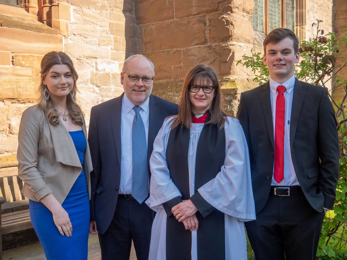 Revd Fiona Gibson, the new Archdeacon of Ludlow, her husband Dave and their two children