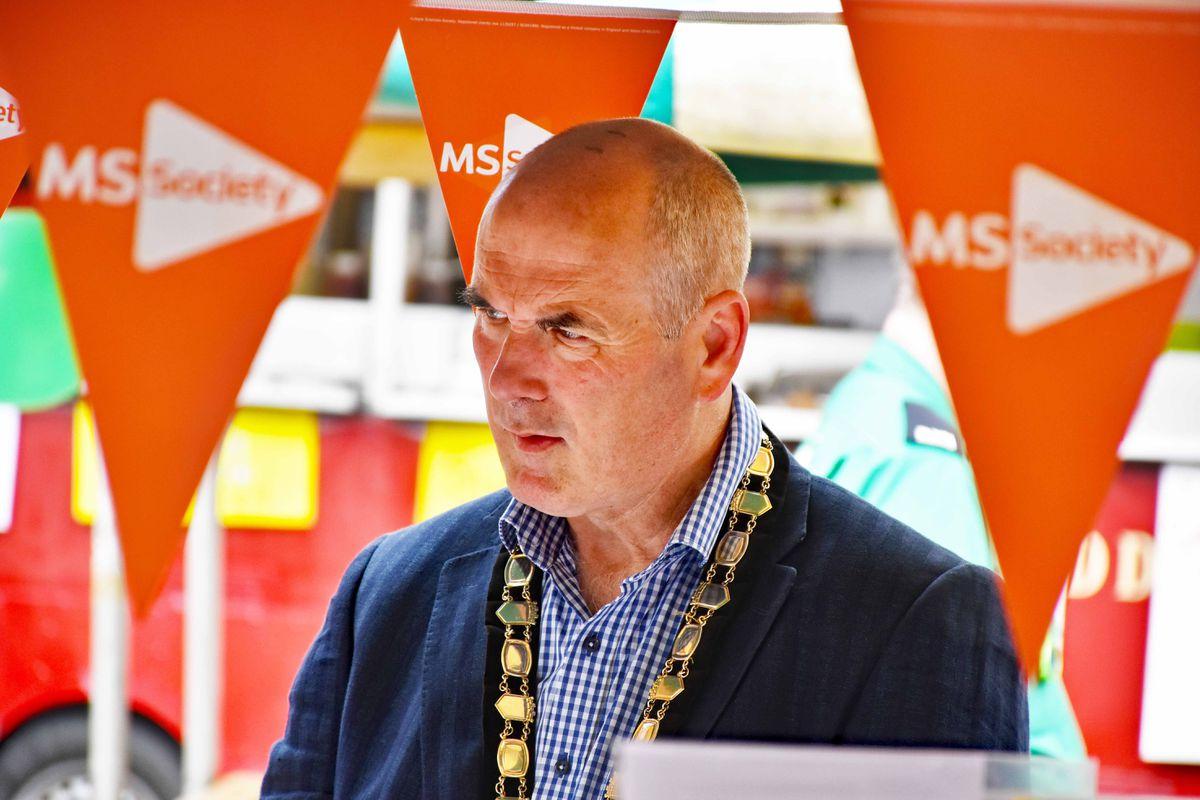 Oswestry mayor Councillor Mark Jones at the charity market
