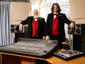 BORDER COPYRIGHT SHROPSHIRE STAR JAMIE RICKETTS 18/02/2021 - The Fron Male Voice Choir recorded their new Album back in 2019 at Forge Studio in Oswestry, they are now getting ready for its release next week. Pictured here is Roger Williams and son, Keith Williams at Forge Studio in Oswestry..