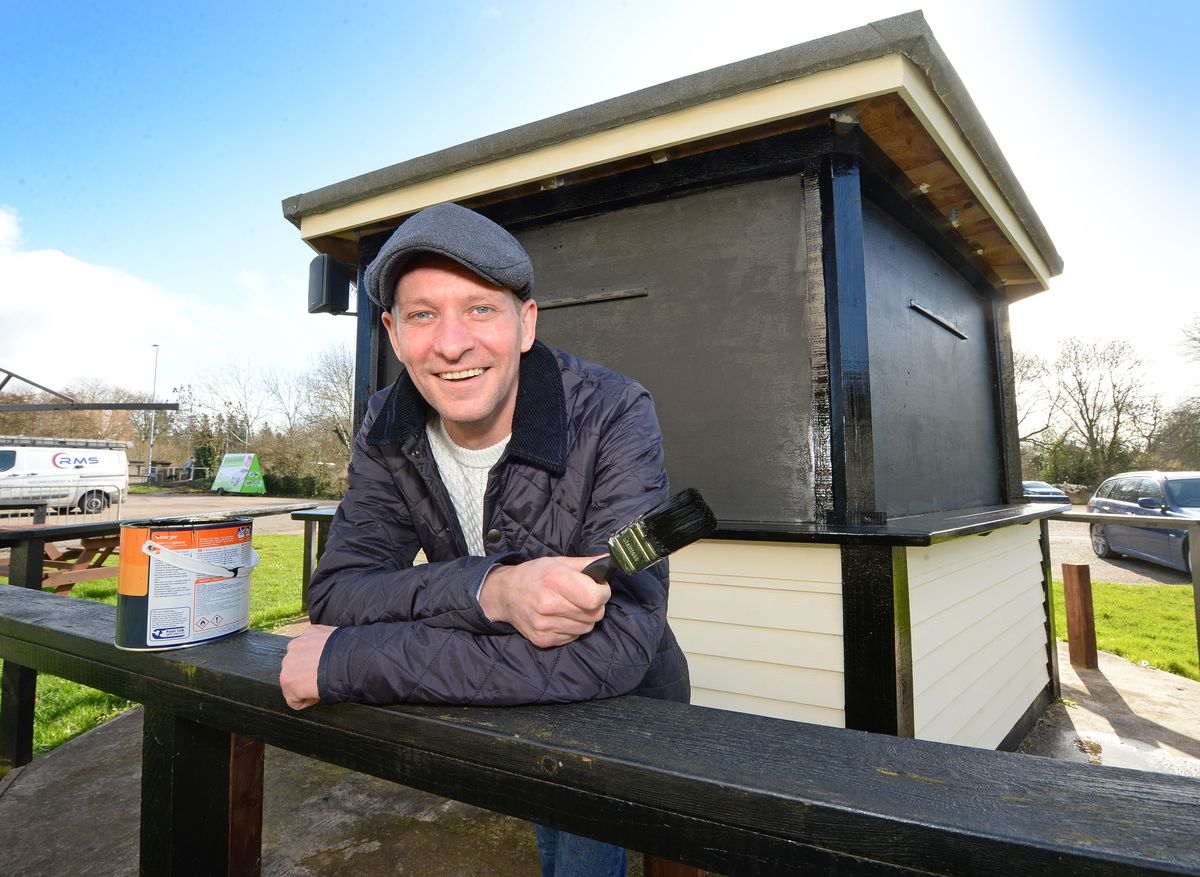 James Hopkins from The Brooklands pub, Meole Brace, Shrewsbury, has been giving the new outdoor bar a lick of paint