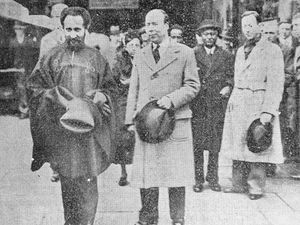 There was a big crowd to greet Haile Selassie at Craven Arms railway station. He is seen with either Roland or Noel Stevens, who were hosting him at Walcot Park.