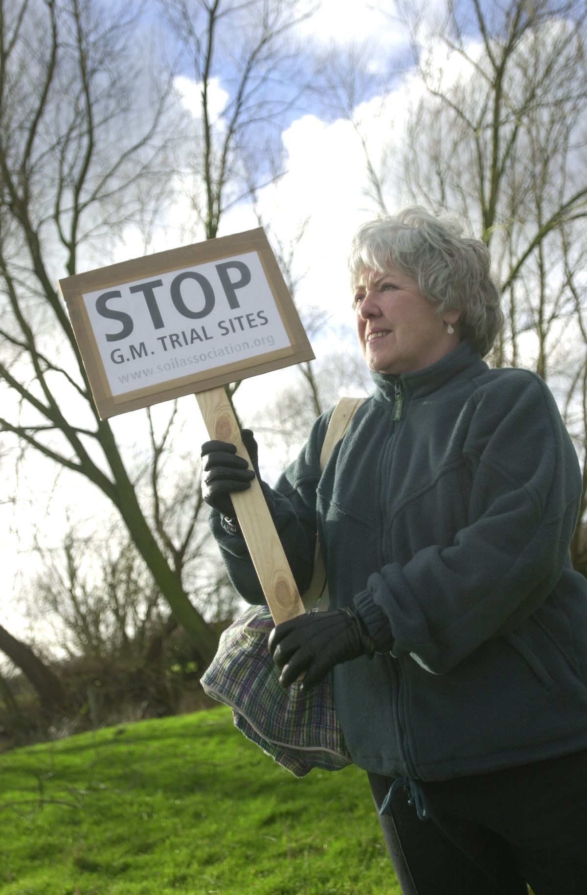 Janet Vernon from Higher Heath protests near the Bagley farm which has taken part in genetically modified crop trials.