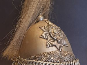 Montgomery Yeomanry Cavalry Troopers helmet in Empires and Eagles shop, Bishop's Castle