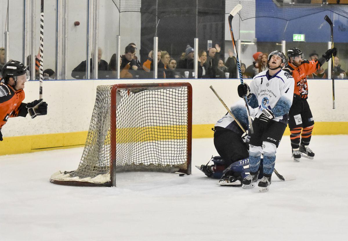 Adam Taylors shot beats the keeper (Photos: Steve Brodie)