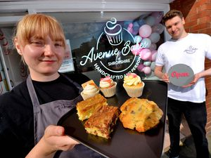 Charlotte Davies has opened Avenue Bakes in Shawbury. Here with boyfriend Dan Goodwin who helped her on opening day