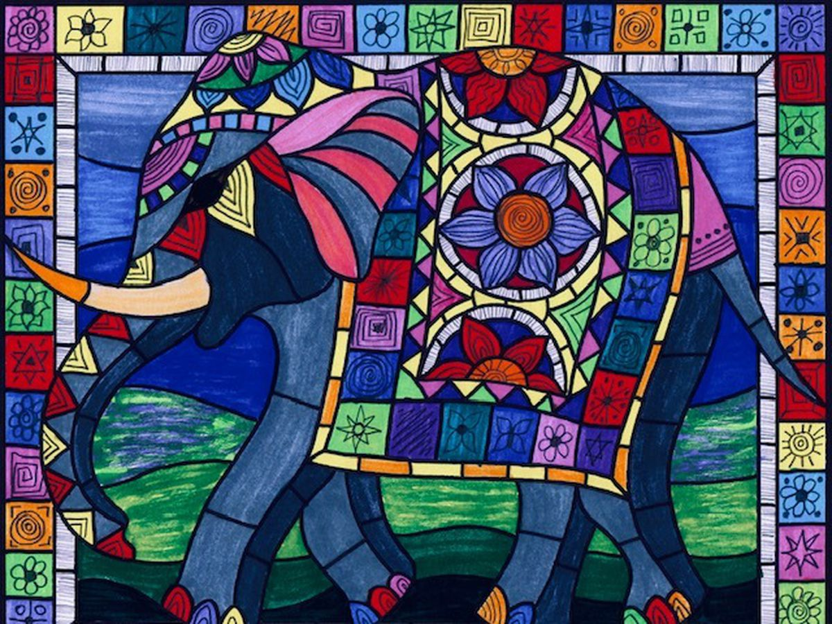 The design of the large stained-glass elephant mural created by local artist Helen Robinson as part of the Bishop's Castle Arts Festival.