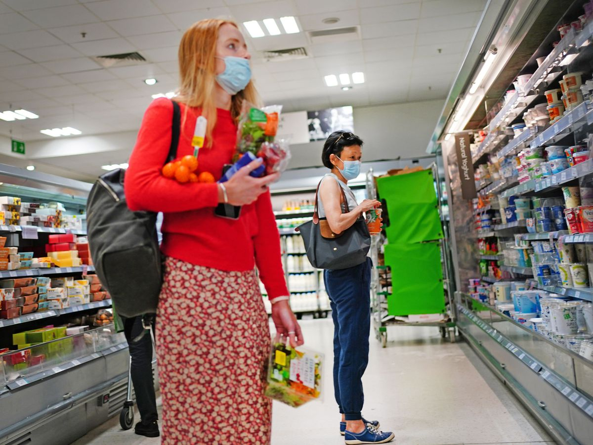 Shoppers in a supermarket