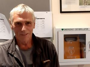Phil Wood with the defibrilator
