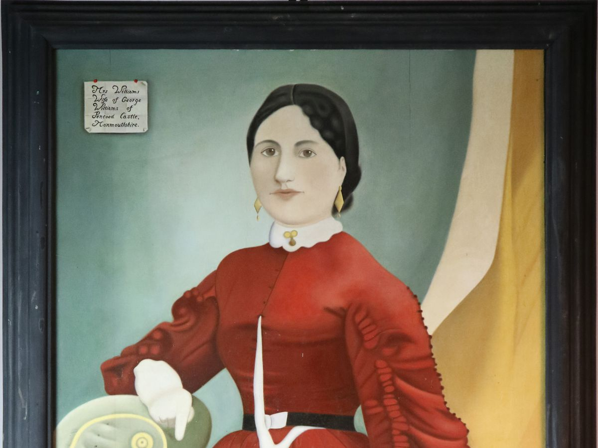 "One of the portraits – ""Mrs Williams, wife of George Williams of Pencoed Castle, Monmouthshire"""