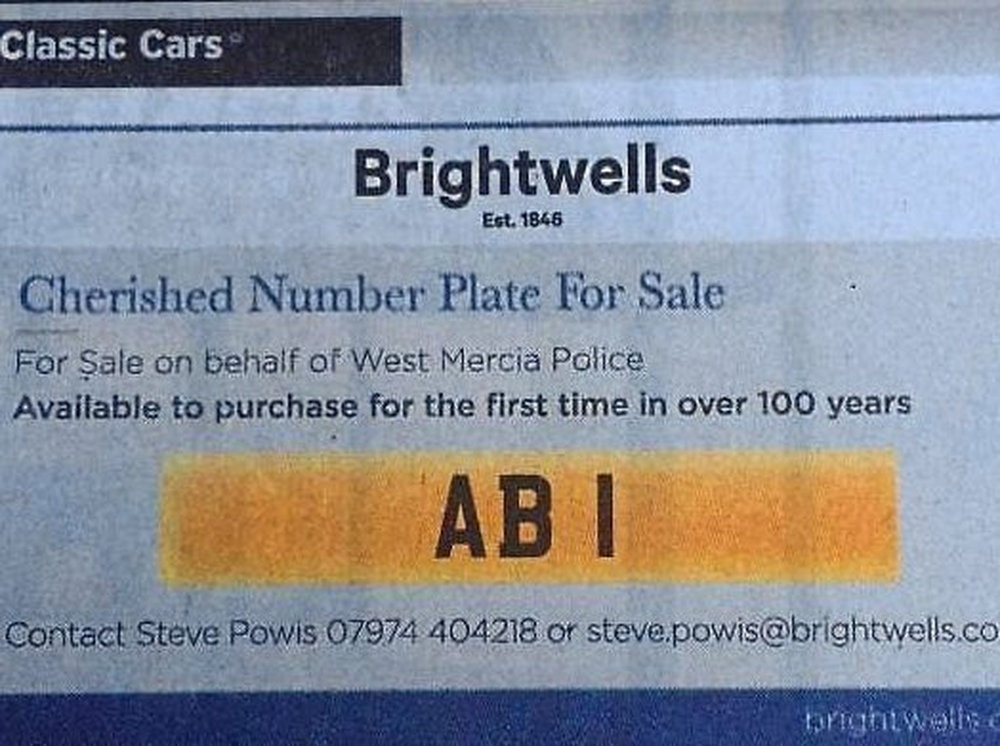 West Mercia Police sell historic AB1 number plate for £160,000 ...