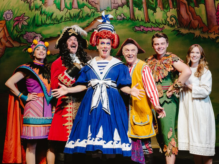 Katy Dean, Phil Stewart, Brad Fitt as Mrs Smee, Eric Smith, Harry Winchester and Victoria McCabe are raring to go at Theatre Severn
