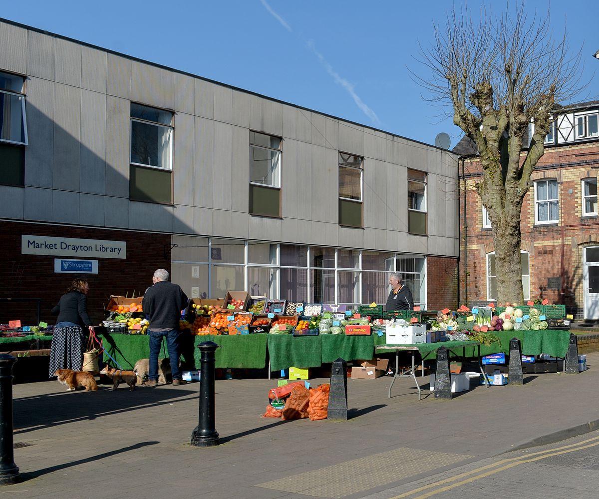 Market Drayton Library on market day