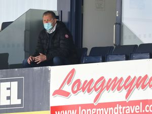 Steve Cotterill the head coach / manager of Shrewsbury Town makes his return to the stadium following his illness with Coronavirus Covid19 when he spent over 50 days in intensive care in hospital.