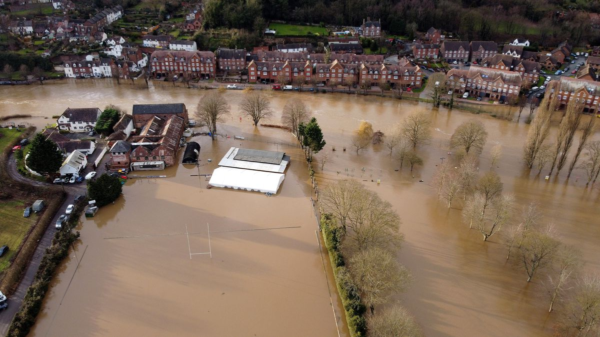 Aerial photo over Severn Park and the rugby club in Bridgnorth