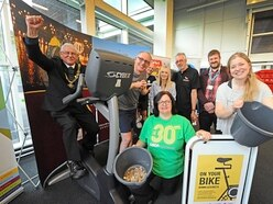 Councillors in Telford town centre charity cycle ride
