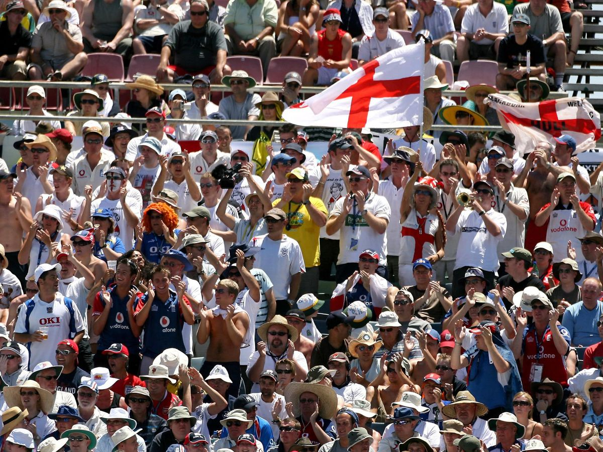 England's Barmy Army cheer on their team in Perth