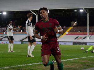 Adama Traore of Wolverhampton Wanderers celebrates after scoring a goal to make it 0-1.