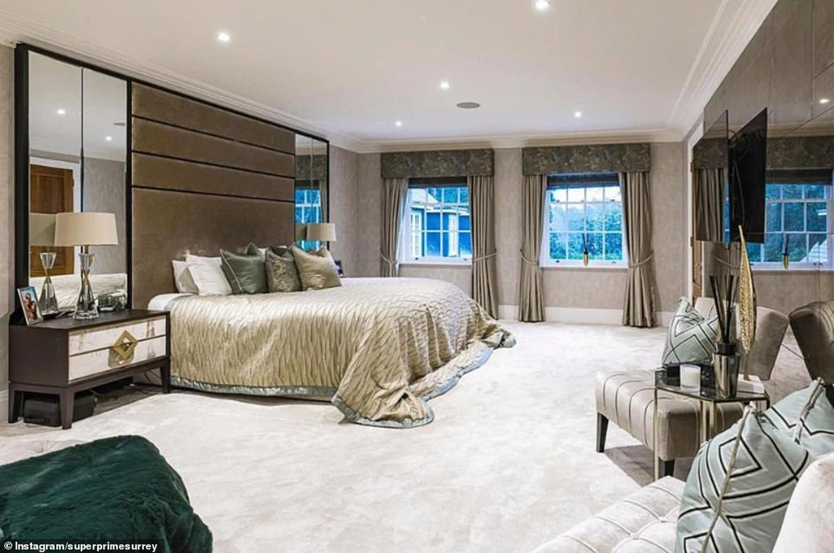 One of six bedrooms in the Surrey home