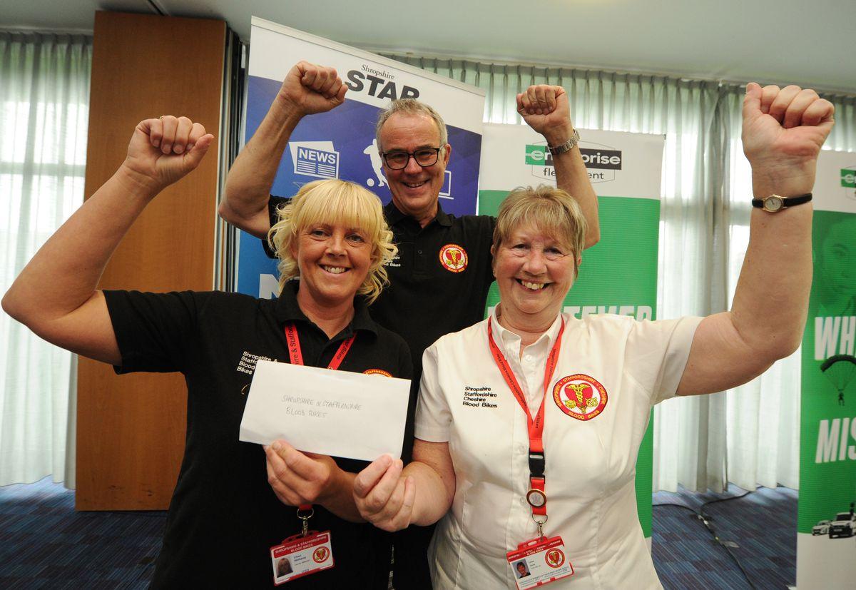 Cheri Williams, Phil Wilkinson and Lynne Stone, representing Shropshire and Staffordshire Blood Bikes