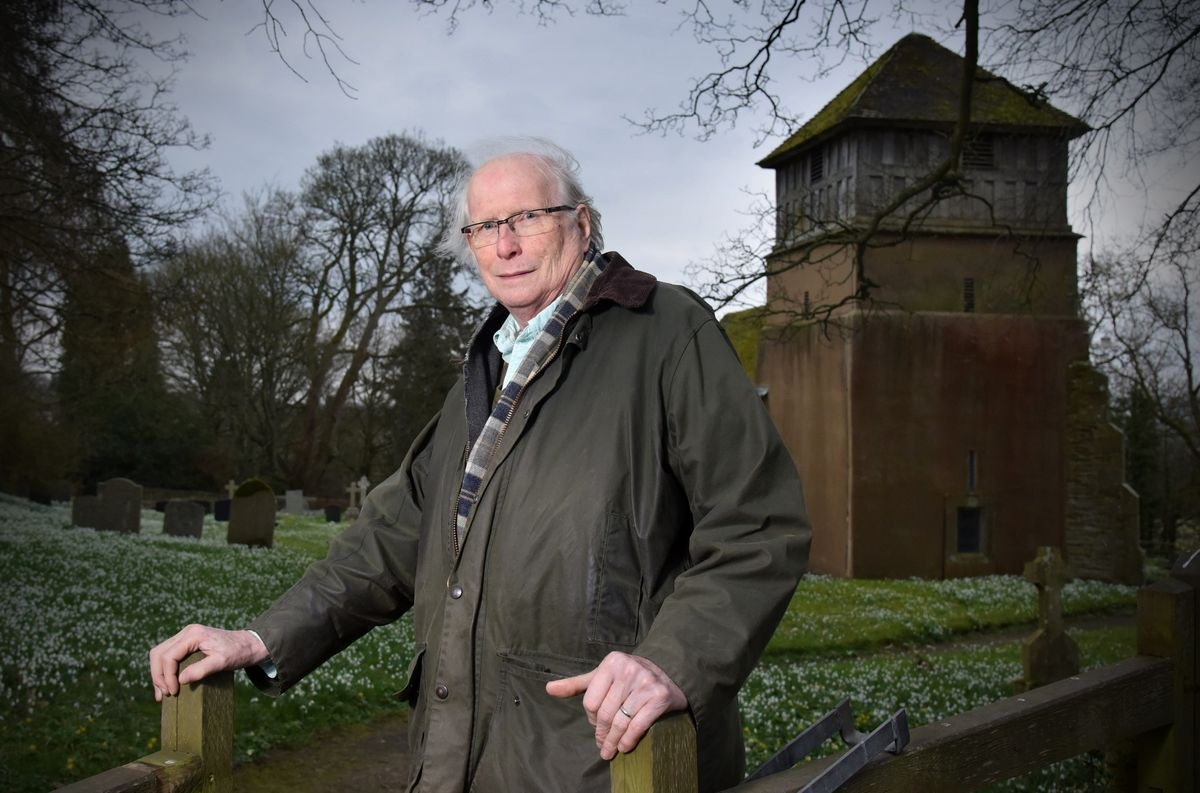 Mike Brogden outside St James's Church, where Samuel and Katherine More were married and where their children were baptised