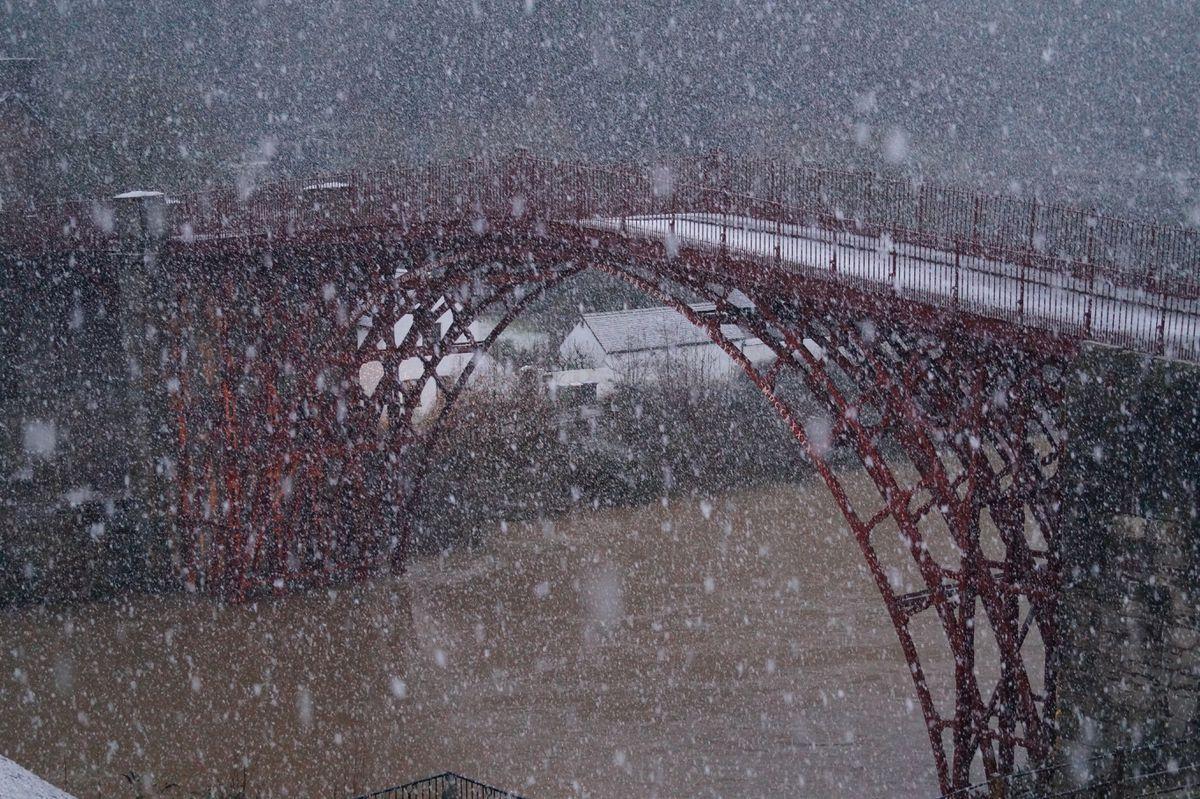 Snow falling in front of the Iron Bridge. Photo: Graham Hickman